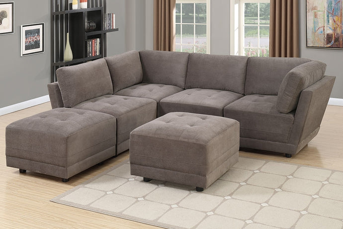 Charcoal Waffle Suede Modular Sectional Sofa Set