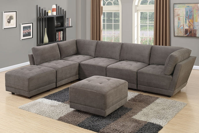 Charcoal Waffle Suede Finish Modular Sectional Sofa Set