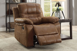 Poundex Dark Brown Breathable Leatherette Motion Recliner Chair