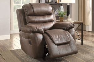Poundex Dark Coffee Breathable Leatherette Finish Motion Recliner Chair