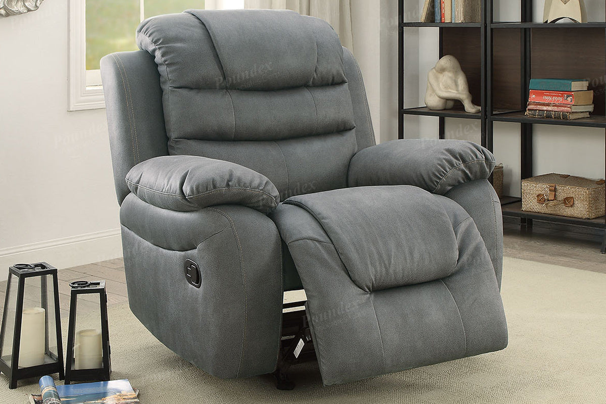 Poundex Gray Breathable Leatherette Motion Recliner Chair