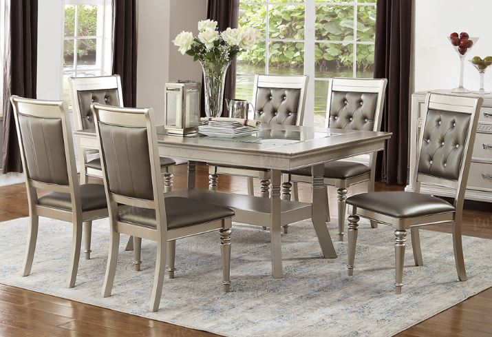 7 Pieces Silver Finish Wood Rectangular Dining Table Set