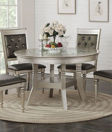 Poundex Silver Finish Wood Round Counter Dining Table