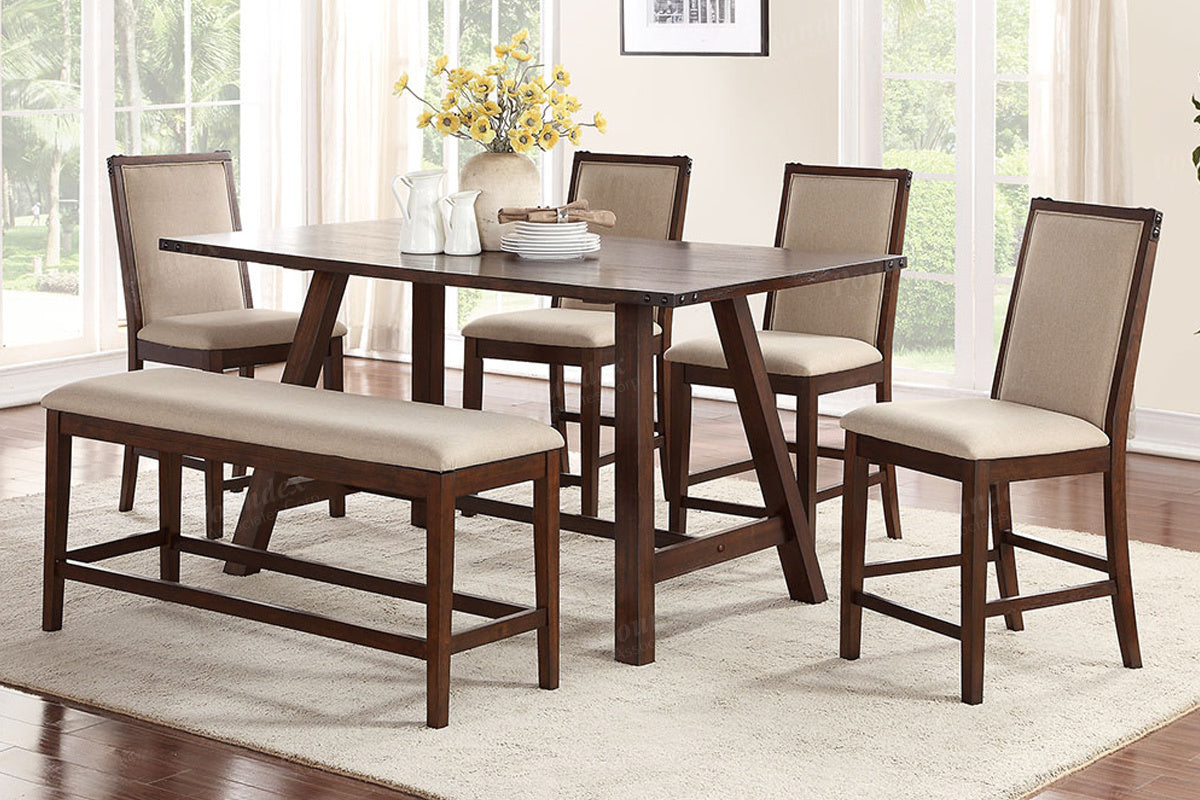 Poundex Medium Brown Natural 6 Piece Counter Height Table Set