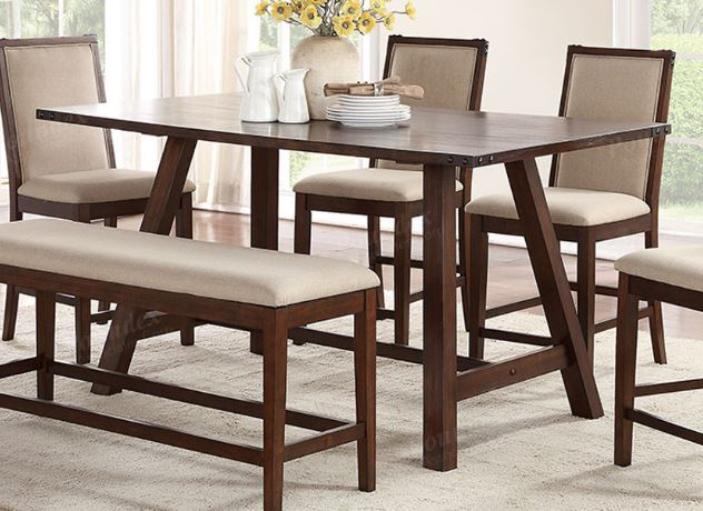 Poundex Brown Wood Finish Counter Height Dining Table