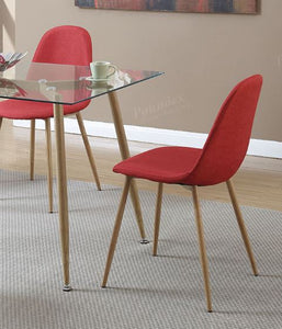 Poundex Red Fabric And Wood Finish 4 Piece Dining Chair