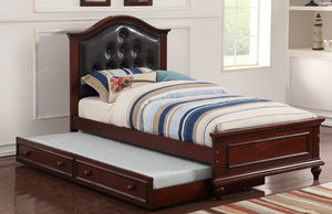 Poundex Cherry Black Wood Kids Twin Bed With Trundle
