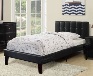 Poundex Black Faux Leather Headboard Full Bed