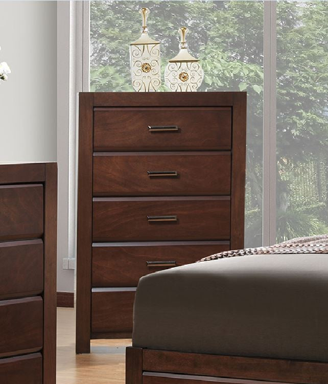 Poundex Natural And Brown Wood Finish 5 Drawer Chest