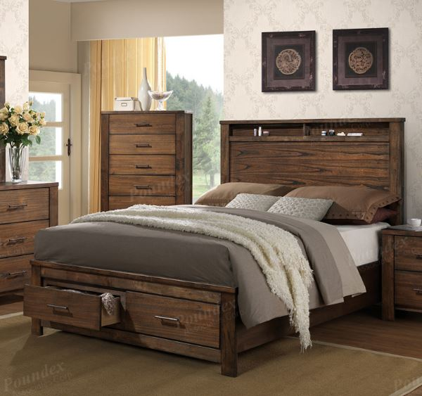 Natural Wood Mindy Finish Storage Footboard King Bed
