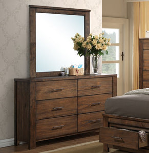 Poundex Natural Wood Minfy Finish Dresser Mirror Set