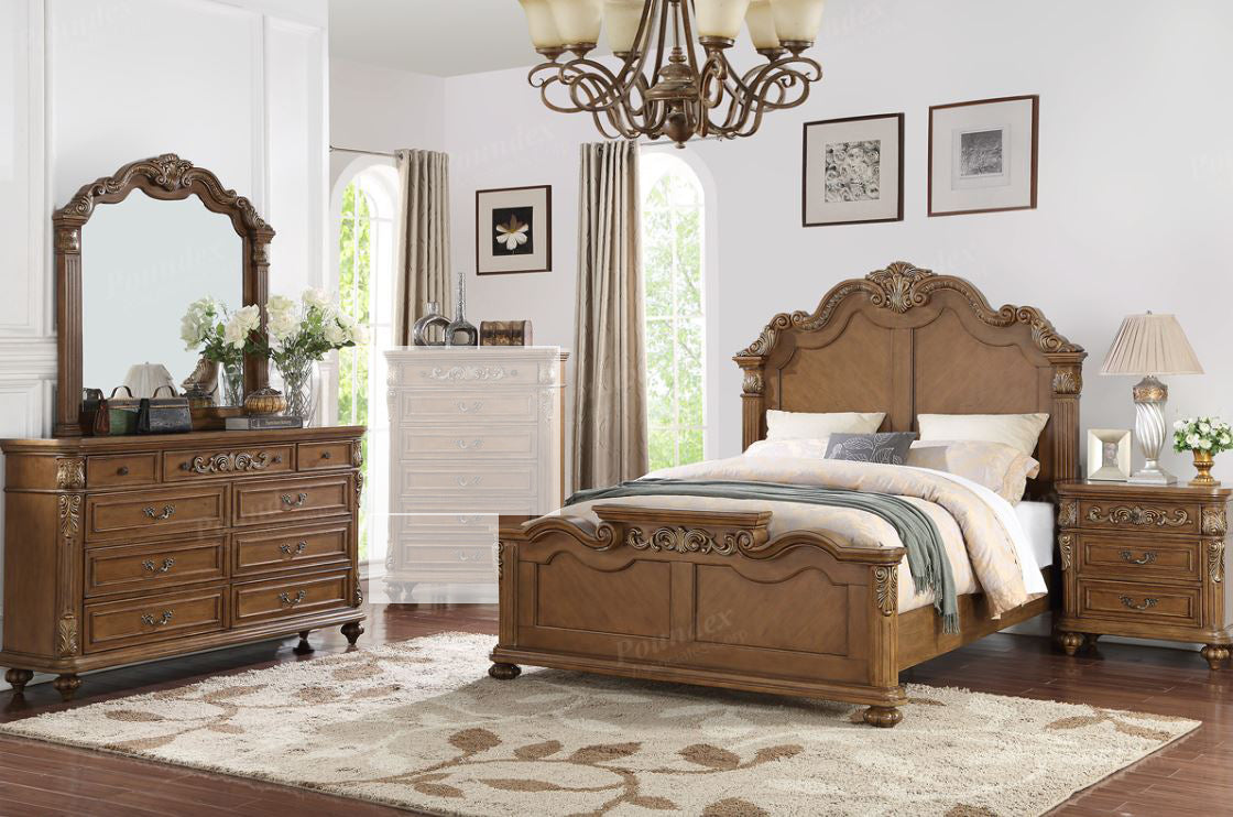 Medium Brown Wood Carved Floral 4 Pc Queen Bedroom Set