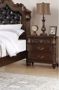 Poundex Dark Brown Wood Finish 2 Drawer Nightstand