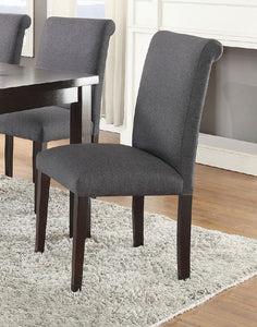 Light Grey Fabric Finish Dining Chair Set of 2 Poundex