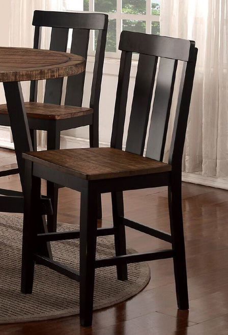 Acacia Finish High Dining Chair Set of 2 Poundex