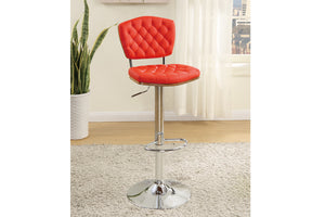 Poundex Red Faux Leather And Chrome Finish 2 Piece Bar Stool