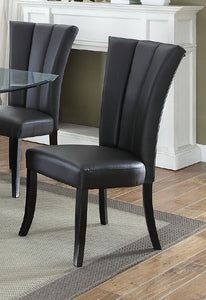 Poundex Polyfiber And Wood Finish 2 Piece Dining Chair