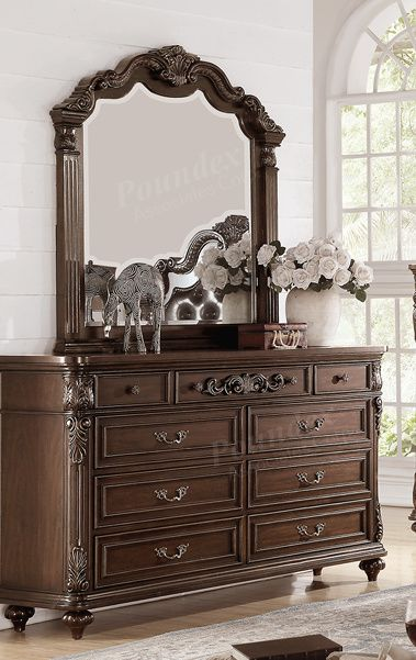 Poundex Dark Brown Wood Finish 6 Drawer Dresser With Mirror
