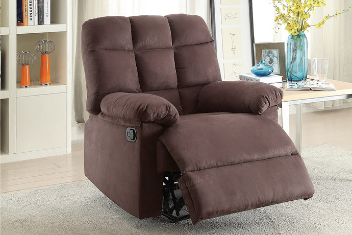 Microfiber Motion Recliner Chair in Chocolate Poundex