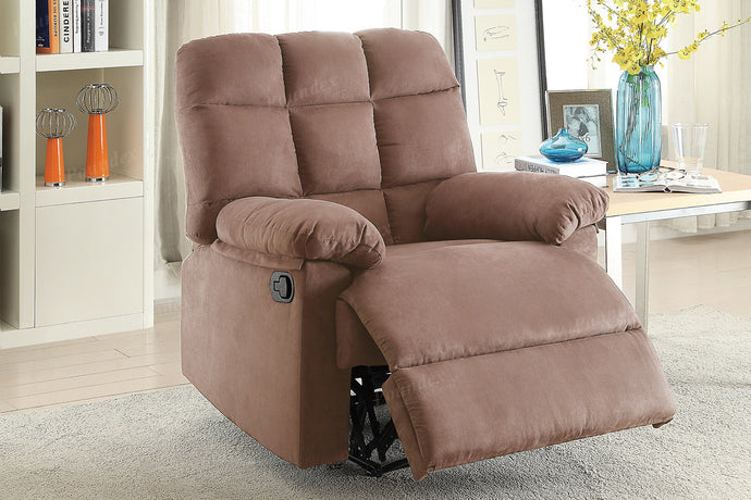 Modern Metal Frame Peat Plush Microfiber Swivel Recliner Poundex