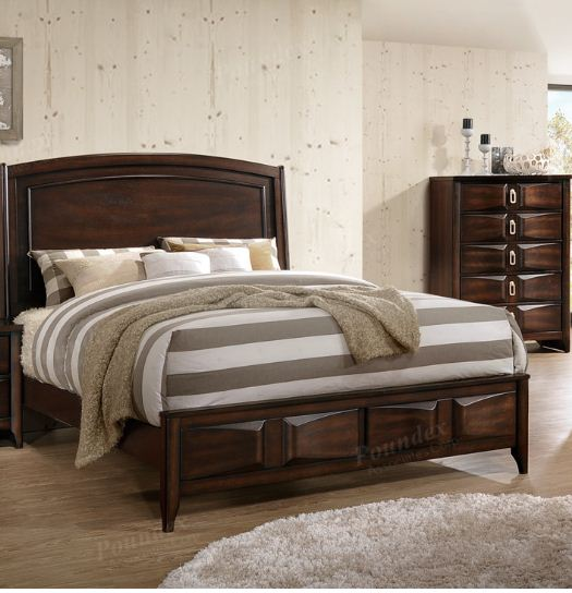 Poundex Dark Brown Wood Finish California King Bed With Storage Drawer