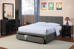 Poundex Gray Fabric And Wood Finish Full Bed