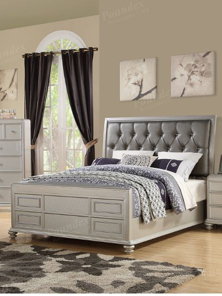 Eastern King Bed in Gray Finished Poundex