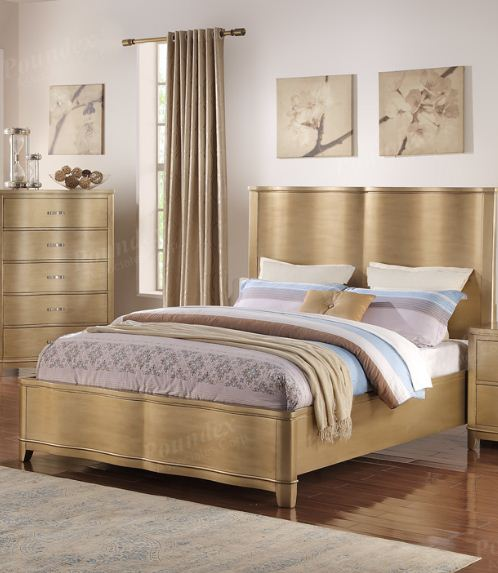 Eastern King Bed In Pine Wood Poundex