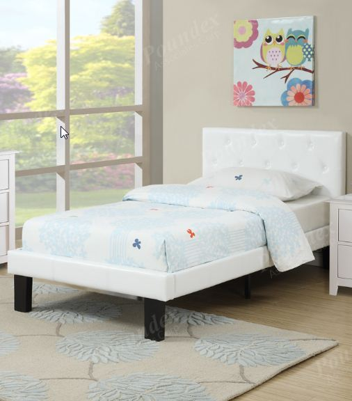 Polyurethane Upholstered Platform Full Bed in White Poundex