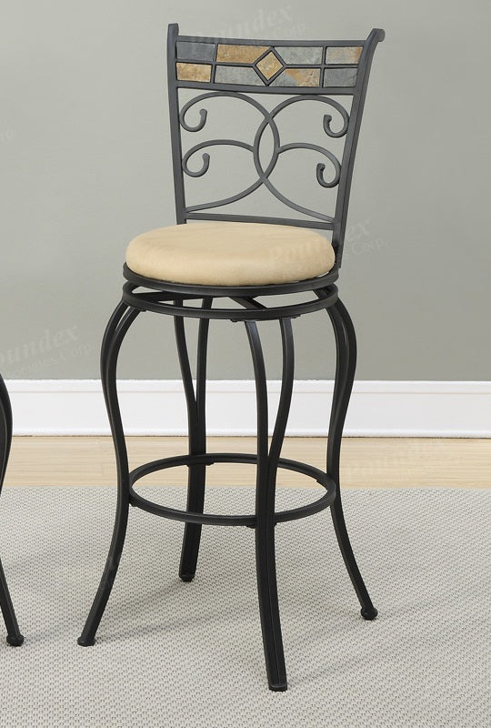 Poundex Black Metal Finish 2 Piece Bar Height Stool