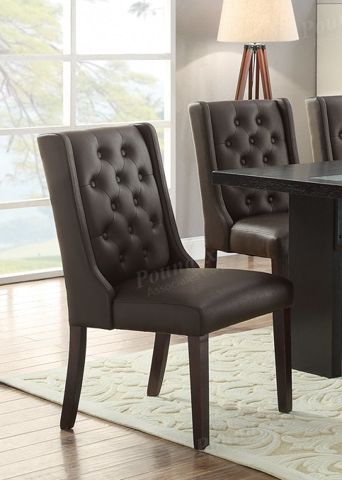 Poundex Espresso Faux Leather Finish 2 Piece Dining Table