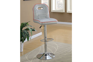 Poundex Gray Faux Leather And Chrome Finish 2 Piece Bar Stool
