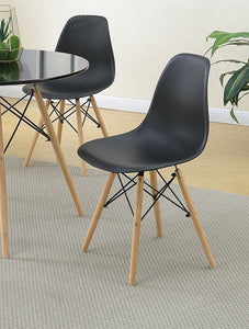 Poundex Black Fabric And Wood Finish 4 Piece Dining Chair