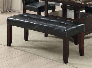 Poundex Black Leather And Wood Finish Dining Bench
