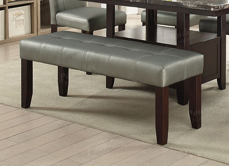 Poundex Gray Faux Leather And Wood Finish Dining Bench