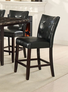 Poundex Black Faux Leather Finish Counter Height 2 Piece Dining Chair