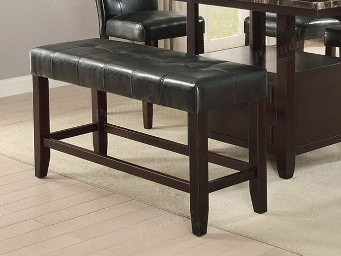 Poundex Black Faux Leather Finish Counter Height Dining Bench