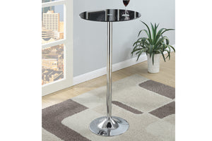 Poundex Black Chrome And Glass Top Counter Height Bar Table
