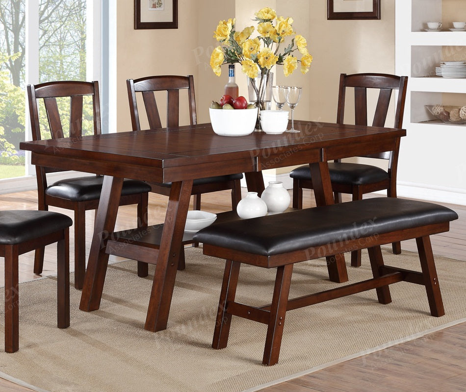 Poundex Dark Brown Wood Finish Dining Table
