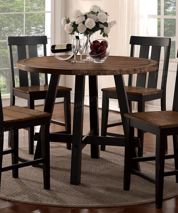 Poundex Natural Wood Finish Round Counter Height Table