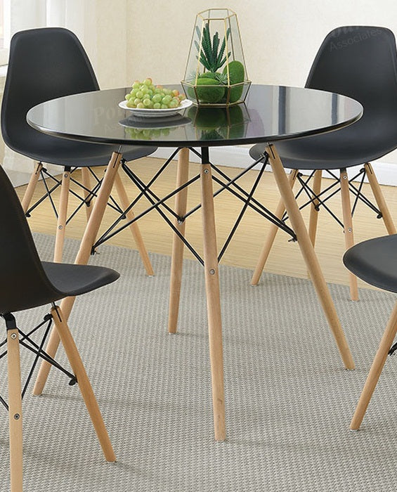 Poundex Glass Top Finish Round Dining Table