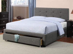Poundex Grey Button Tuffed Finish Queen Bed