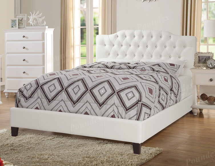 White Fabric Button Tuufed Queen Bed in White by Poundex