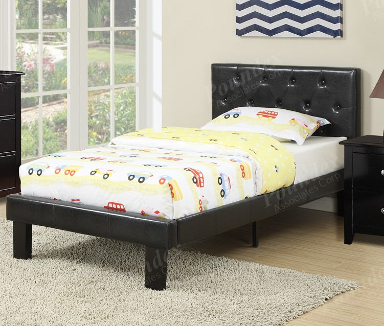 Poundex Black Faux Leather And Wood Finish Full Bed