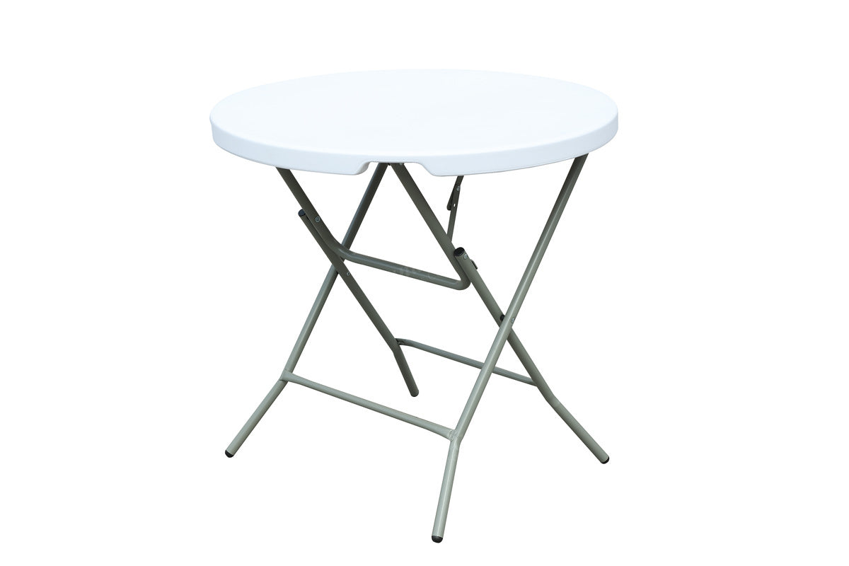 White Metal Finish Round Outdoor Table by Poundex