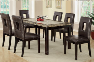 Poundex Dark Brown Faux Marble Finish Casual Dining Table