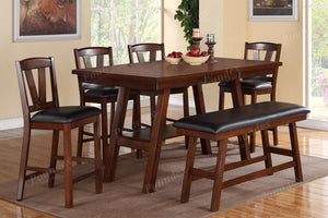 Poundex Dark Brown Wood Finish Counter Height Dining Table