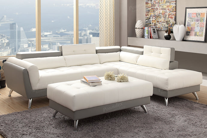Poundex 2 Piece White Bonded Leather And Pine Wood Sectional Sofa