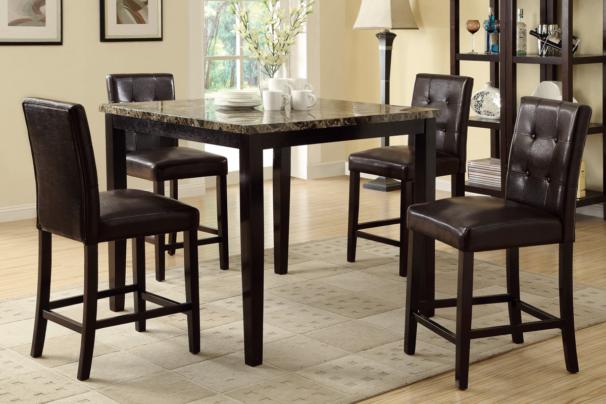 Poundex Brown Marble Top And Wood Finish Counter Height Dining Table