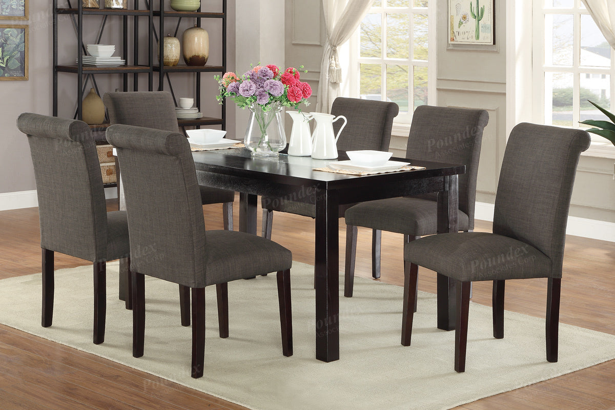 Poundex Dark Brown Wood And Glass Top Finish Dining Table